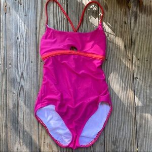 Speedo size M tie back pink one piece